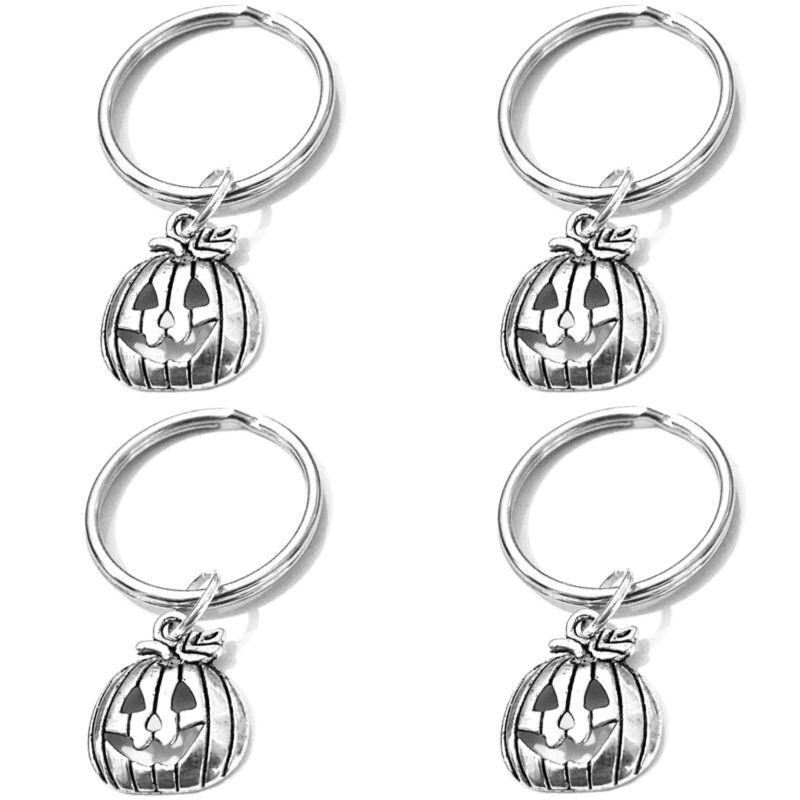 Lot 4 Silver Jack-o-lantern Pumpkin Keyrings Keychains
