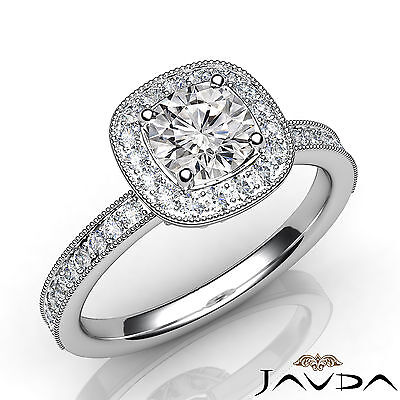 Halo Pave Set Milgrain Round Cut Diamond Engagement GIA Certified F SI1 Ring 1Ct