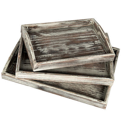 Rustic Torched Wood Nesting Breakfast Serving Trays with Handles, Set of (Breakfast Tray Set)