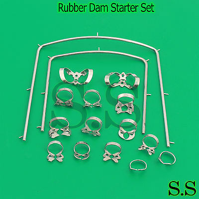 Rubber Dam Starter Kit Of 16 Pcs With Frame Clamps Dental Instrument Dn-2081