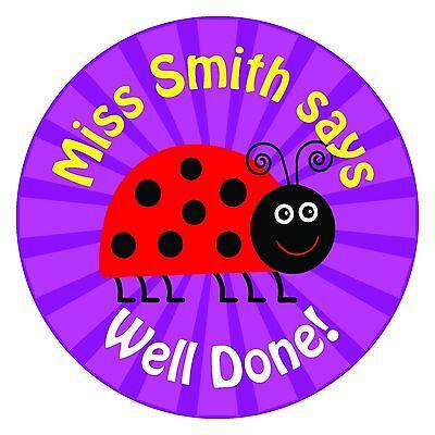 80 Personalised Teacher / Parent reward Stickers for Pupils Purple Ladybird gift