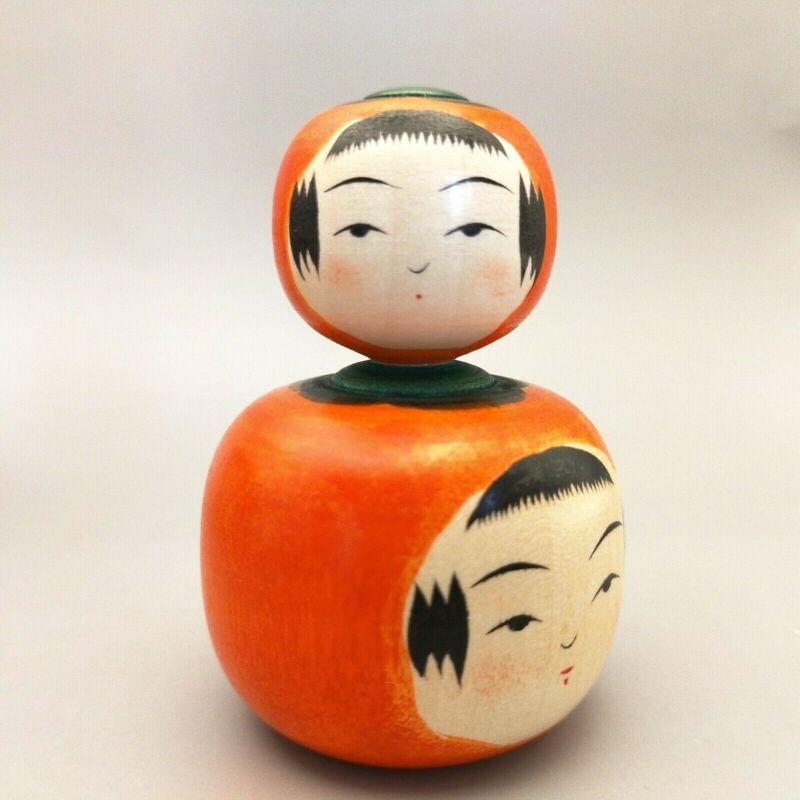 Japanese wooden  doll kokeshi Persimmons, Kakizawa Yoshinobu, Naruko