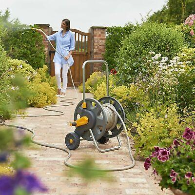 Hozelock 60m Assembled Hose Cart with 50m Garden Hose Pipe, Wheels & Handle Grey