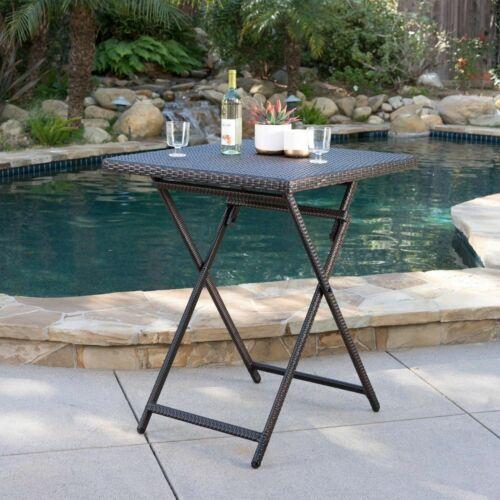 Marinelli Outdoor Folding Multi-Brown Wicker Square Bar Table Home & Garden