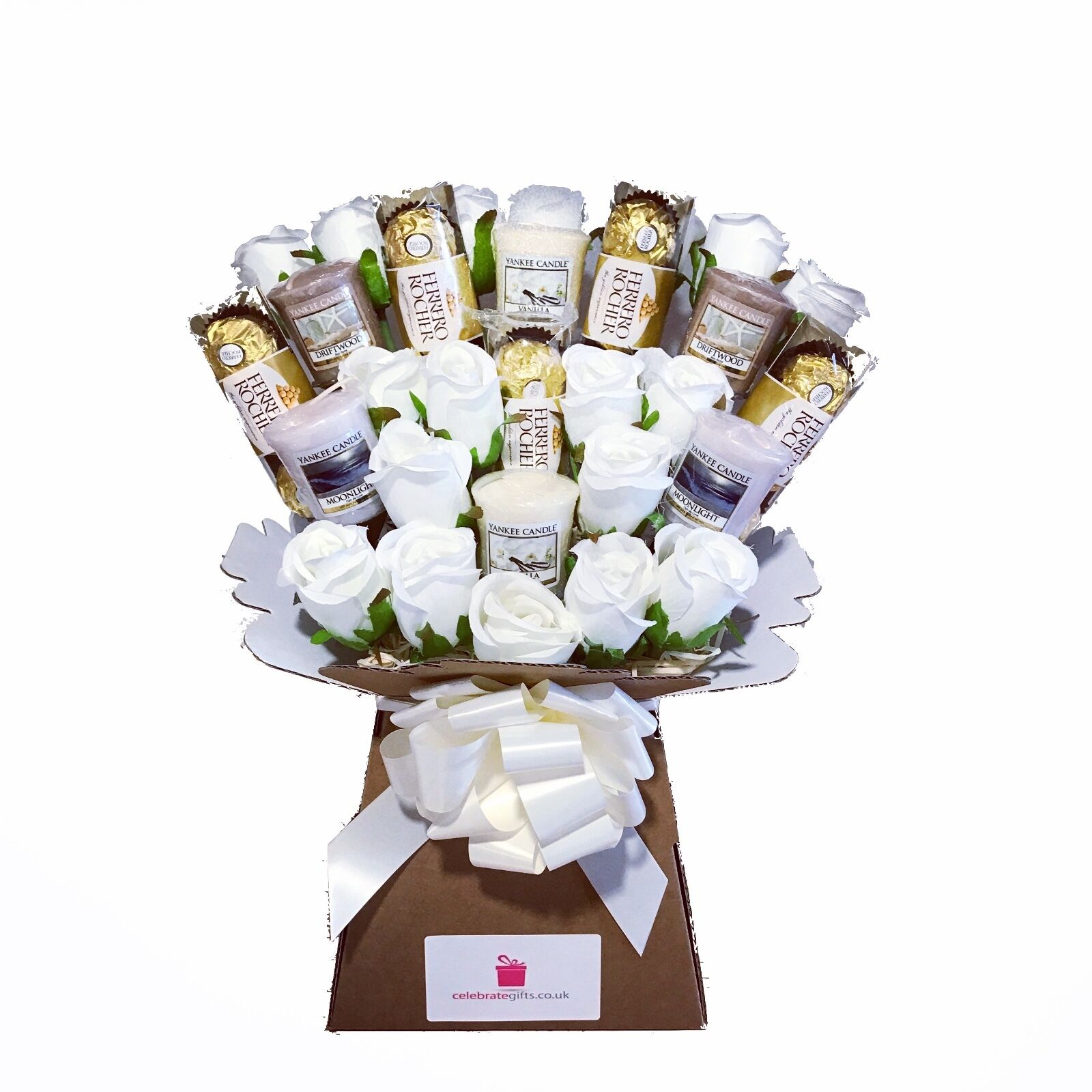 Uks only official yankee candle silk ivory roses ferrero yankee candle bouquet gift with silk ivory roses ferrero rocher chocolates izmirmasajfo Images