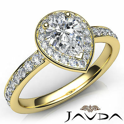 Halo Pave Setting Pear Diamond Engagement Cathedral Ring GIA H Color VS2 0.95Ct