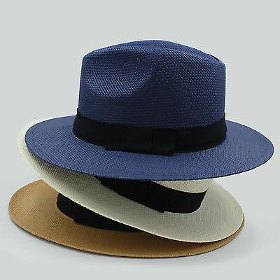 Men Women Straw Panama Hats Fedora Trilby Caps Sunhat Wide Brim Sombrero Summer