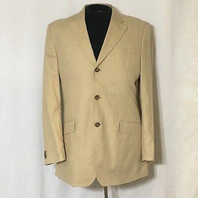 Banana Republic Blazer Jacket Suit Coat Linen 42L Three Button Double Vented Tan