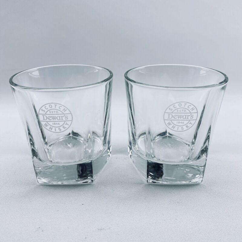 2 Dewars Scotch Whisky Rocks Glasses Heavy Pentagon Base Libbey Duratuff