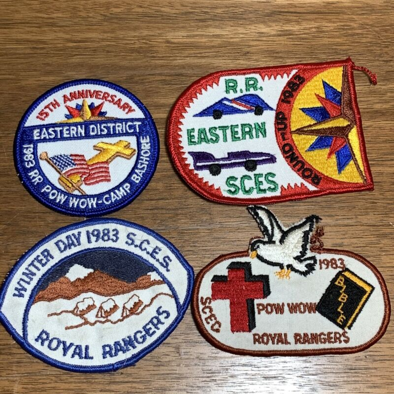 Vintage Royal Rangers Patch Badge Lot of 4 1983 SCES Pow Wow Winter Day Eastern
