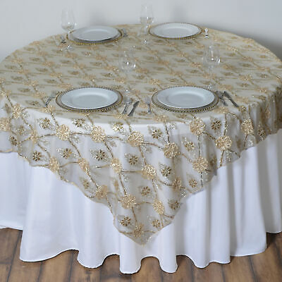"""Champagne FLOWERS LACE 72x72"""" TABLE OVERLAY Sparkly Wedding Party Catering SALE"""