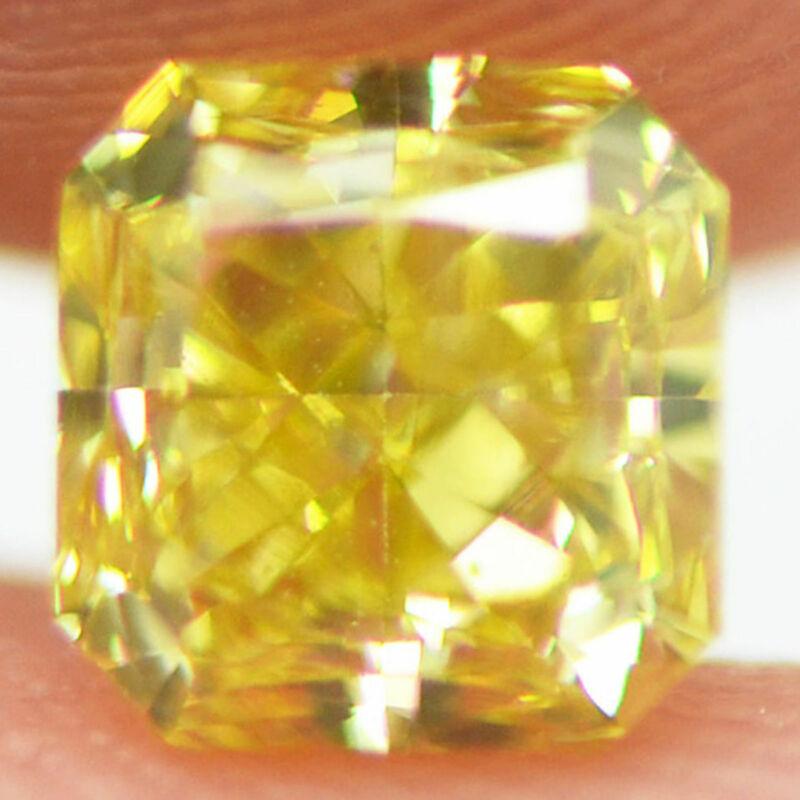 Loose Yellow Diamond Fancy Color Certified Radiant Shape 1.04 Carat Vs2 Enhanced