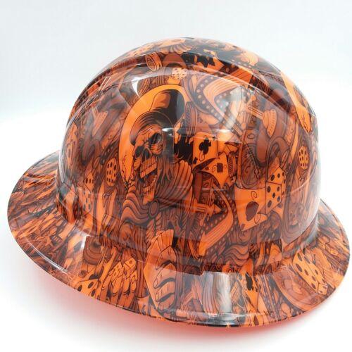 FULL BRIM Hard Hat custom hydro dipped , NEW DEALERS CHOICE ORANGE HOT NEW 2