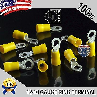 100 Pack 12-10 Gauge 10 Stud Insulated Vinyl Ring Terminals Tin Copper Core Us