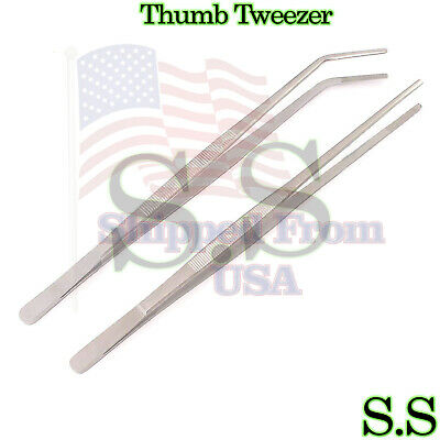 New 2 Pcs 12 30cm Reptile Feeding Tongs Tweezers Curved Stainless Steel