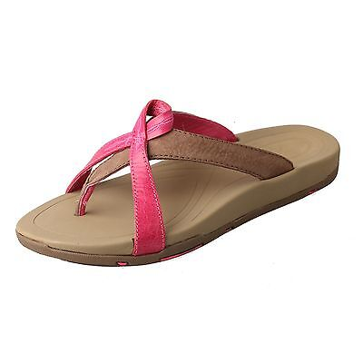 TWISTED X WOMEN'S PINK/STONE BREAST CANCER LEATHER FLIP FLOP SANDALS WSD0006 Breast Cancer Flip Flop