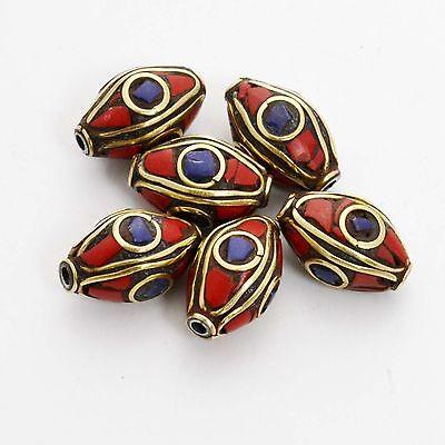 BDS332A Tibetan Nepalese Artisan Handmade Brass Lapis Coral 6 Beads by Eksha