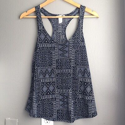 H&M Women's Dark Blue Tribal Print Tank Top Size XS EUC