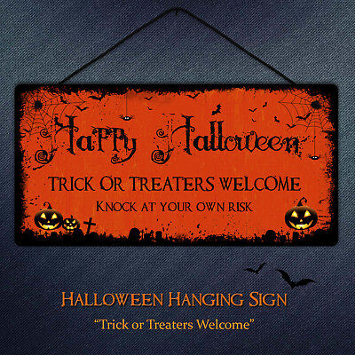 Happy Halloween Plaque Trick or Treaters Orange Halloween Door Wall Sign Fun](Happy Halloween Door Sign)