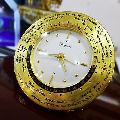 Breguet Rare Vintage Gilt World Time Desk Clock with Alarm