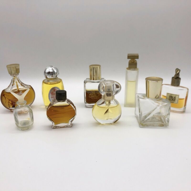 Lot Of Vintage Perfume Glass Bottles Baron Intuition True Love Tatiana Designer