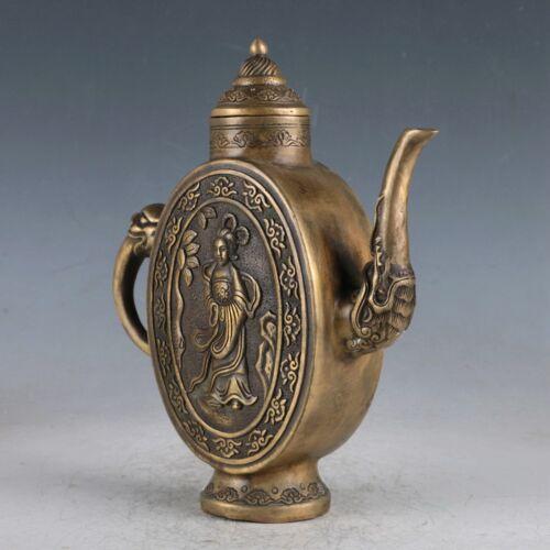 Exquisite Chinese old Brass Beautiful Woman Teapot Statue Qianlong Mark