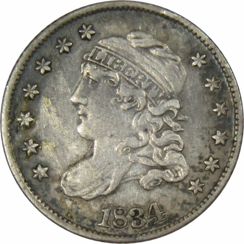 1834 5c Capped Bust Silver Half Dime Coin VF Very Fine