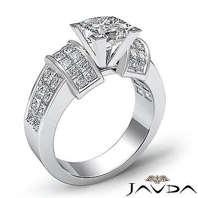 4 Prong Invisible Setting Princess Cut Diamond Engagement Ring GIA I VS2 2.96Ct 1