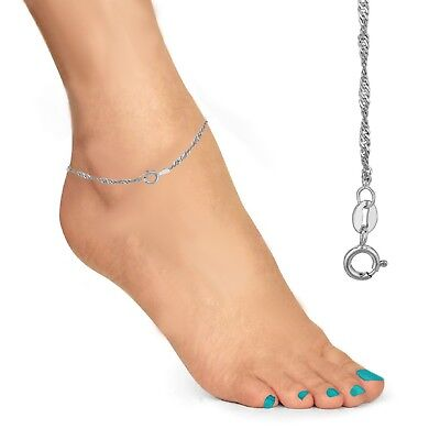 "10K Solid White Gold Anklet Singapore Chain 10"" 1.5mm"
