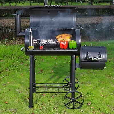 Smoker mit seitlicher Brennkammer Barbeque BBQ Holzkohlegrill Grillwagen Grill