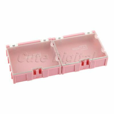 2x Anti-static Part Storage Electronic Smt Smd Component Box Case Organizer Pink