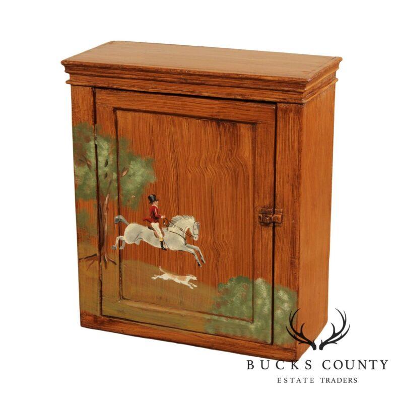 Antique Hand Painted Equestrian Scene One Door Hanging Cupboard