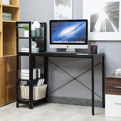 Computer Desk With 4 Tier Bookshelves Multipurpose Study Table Home Office