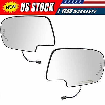Mirror Glass Power Heated Left & Right Pair Set for Chevy Silverado GMC Cadillac ()