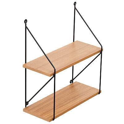 Oak Floating Shelf – 2 Tiered Wall Mounted Wall Shelf Hanging Shelf Bookcases & Shelving