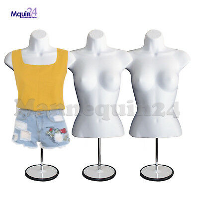 3 Pack Female Torso Body Dress Form Mannequin White 3 Stands 3 Hangers