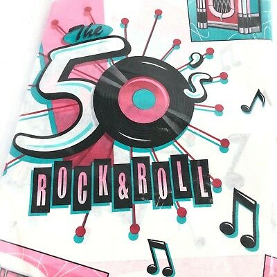 Vintage Amscan Table Cover Fabulous 50's 54 x 102 - Paper - Rock & Roll ()