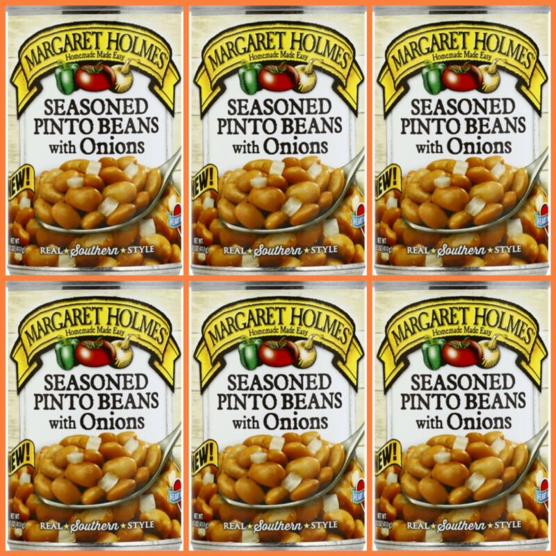 6pk Margaret Holmes SEASONED PINTO BEANS WITH ONIONS 14.5oz per can