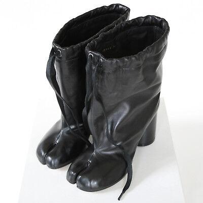 MAISON MARTIN MARGIELA split toe black leather high heel shoes tabi boots 40 NEW, used for sale  Philadelphia