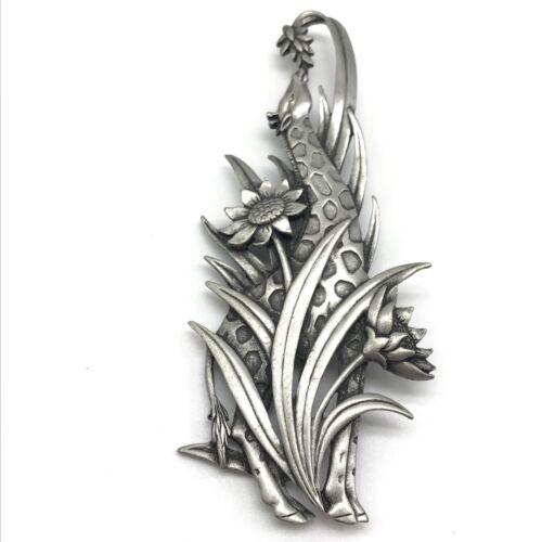 JJ Signed Vintage Large Silver Tone Giraffe Floral Brooch Pin