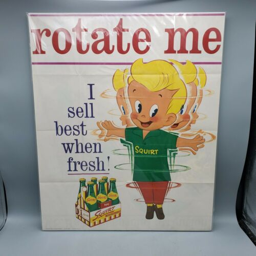 "Vintage 1962 Squirt Rotate Me Mounted Paper Sign Poster w/ Boy Bottles - 16""x20"""