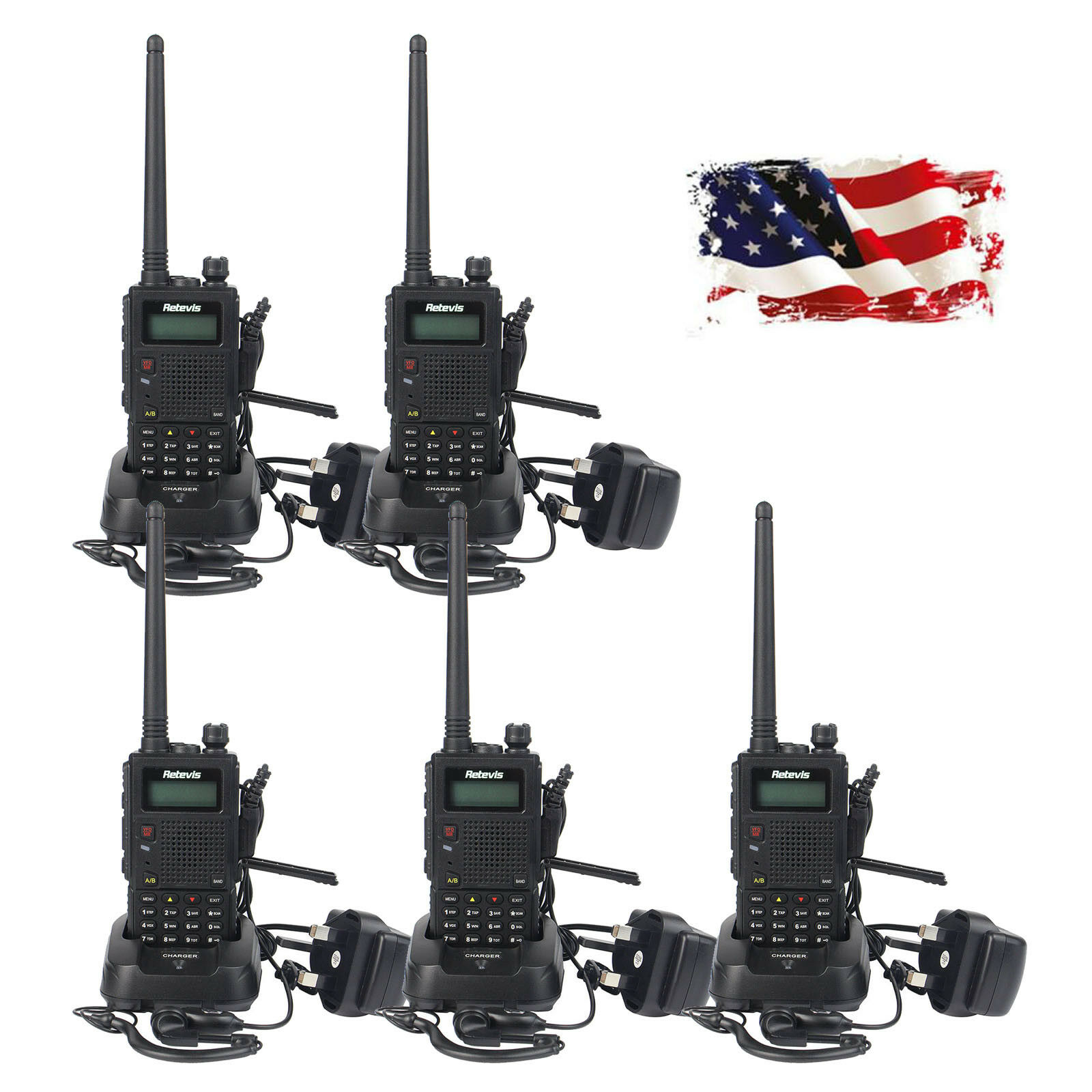 5XRetevis RT1 Walkie Talkies 10W UHF 400-520 MHz 16CH CTCSS//DCS 2-Way Radios US