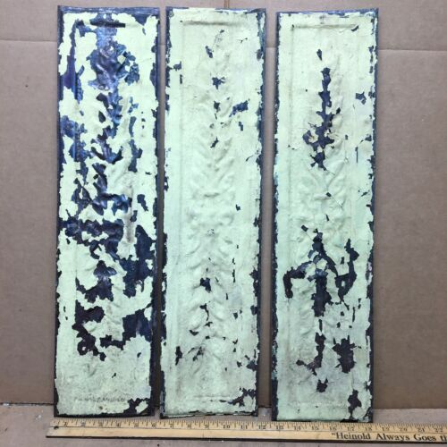 """3 pc 24"""" x 6"""" Fancy Antique Ceiling Tin Vintage Reclaimed Salvage Art Craft"""