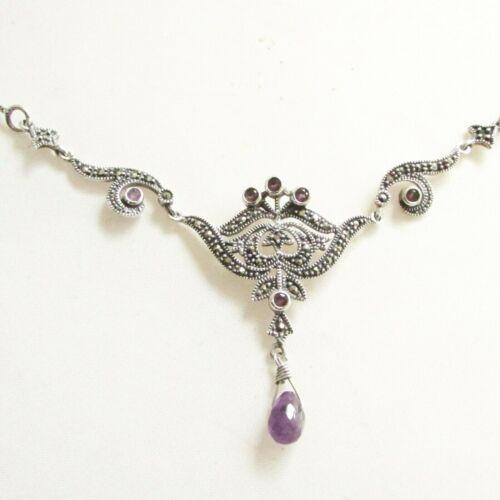 Art Deco style vintage solid silver marcasite & amethyst gemstone necklace