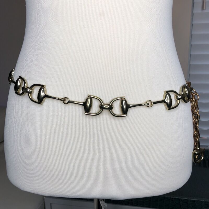 "Horsebit Chain Belt Gold Tone Adjustable 31""-41""  M L Vtg Equestrian Horse Bit"