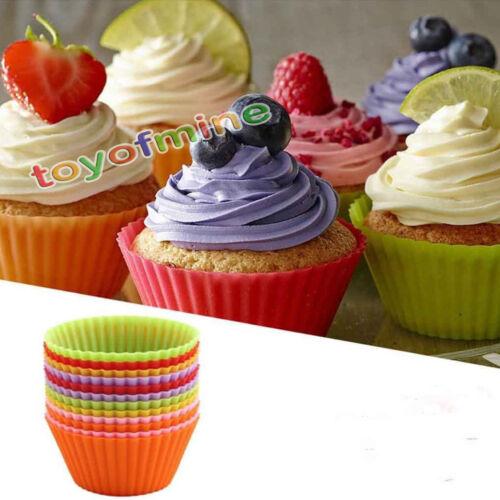 12 PZ Multi Colore Silicone Torta Muffin Cupcake Stampo FORMA ROTONDA STAMPO