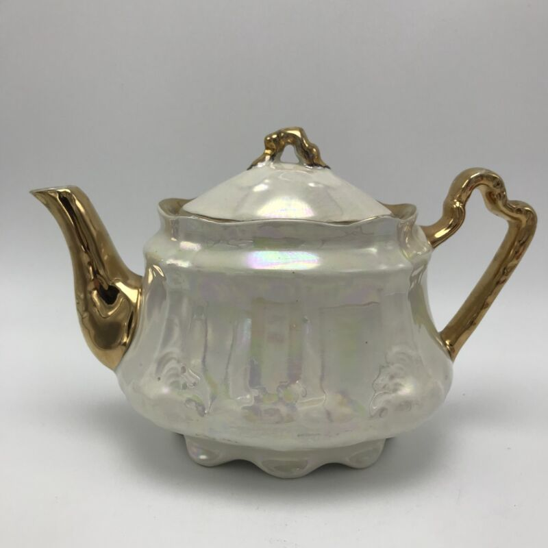 Arthur Wood England Antique Shape Teapot Pearl Luster 5075 Gold Accents