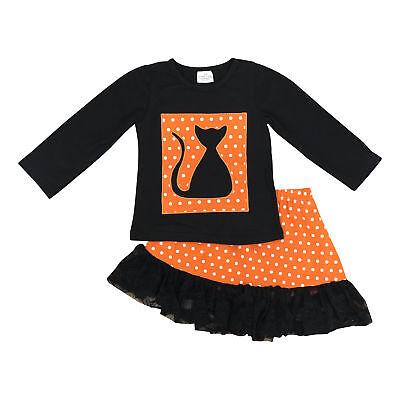 Girls Fall Fashion Halloween Black Cat Skirt Set Boutique Toddler Kids Clothes](Kids Fashion Boutique)