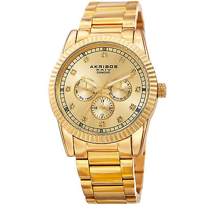 Men's Akribos XXIV AK958YG Gold Plated 12 Diamond Hour Marker Bracelet Watch