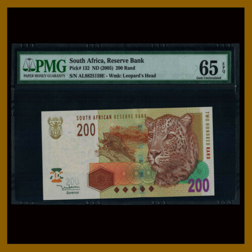South Africa 200 Rand, 2005 P-132 Leopard PMG 65 EPQ
